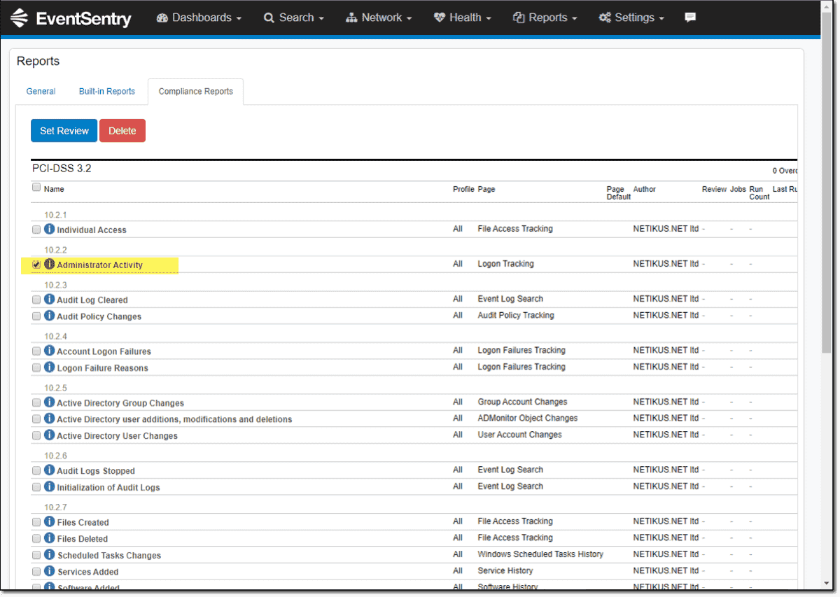 Filtering based on administrator activity with EventSentry compliance reports