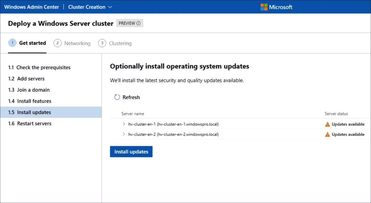 Installation of pending updates using the WAC tool