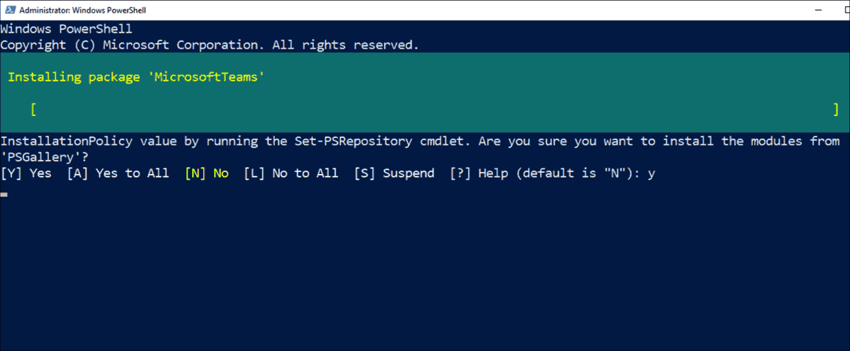Installation of the PowerShell module for Microsoft Teams from PSGallery