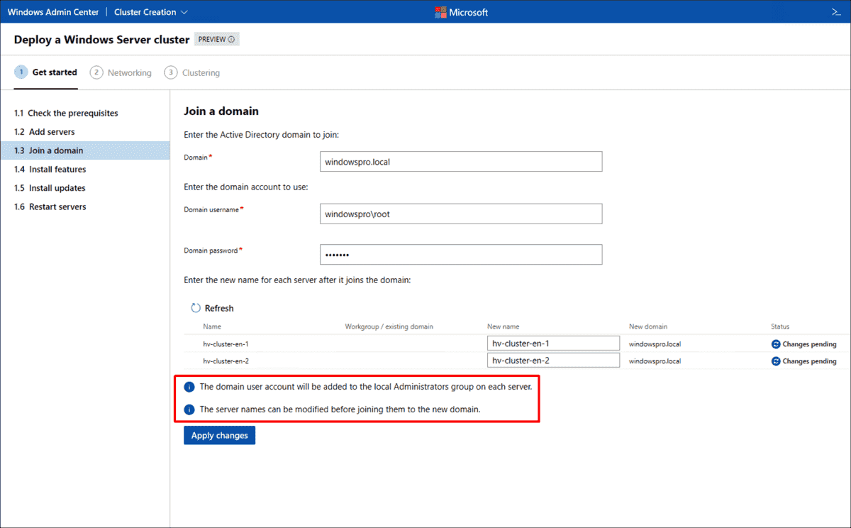 Join cluster nodes to an AD domain