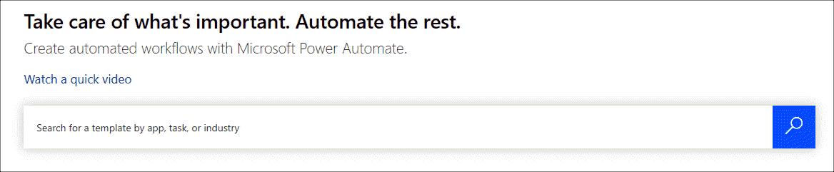PowerAutomate homepage
