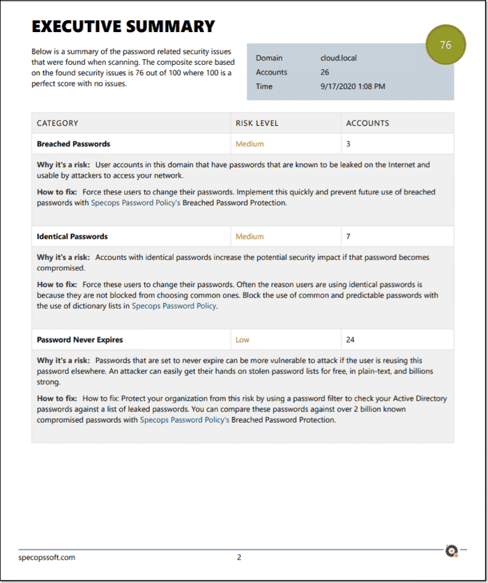 Specops Password Auditor executive summary report available after a scan