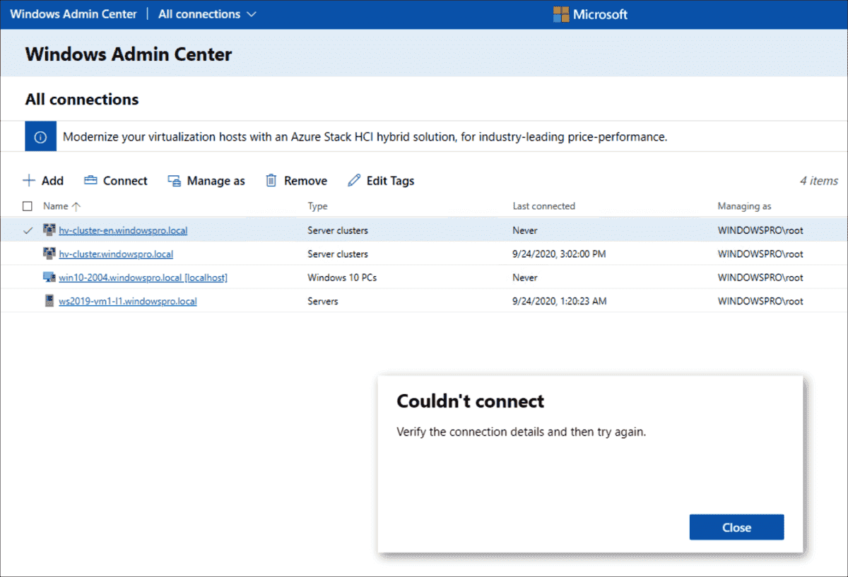 The Admin Center cannot establish a connection to the cluster if the DNS configuration is wrong