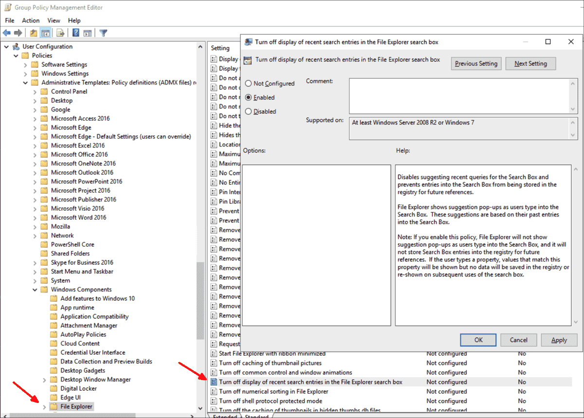 The setting which also affects the Pro Edition is only found in the User Configuration branch