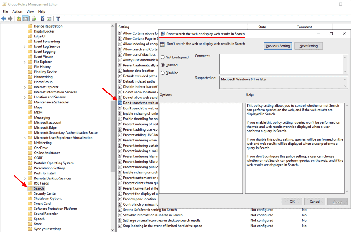 This setting disables web search on the Enterprise and Education editions