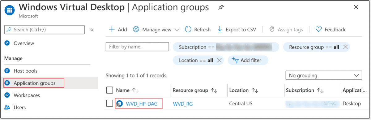 WVD application group