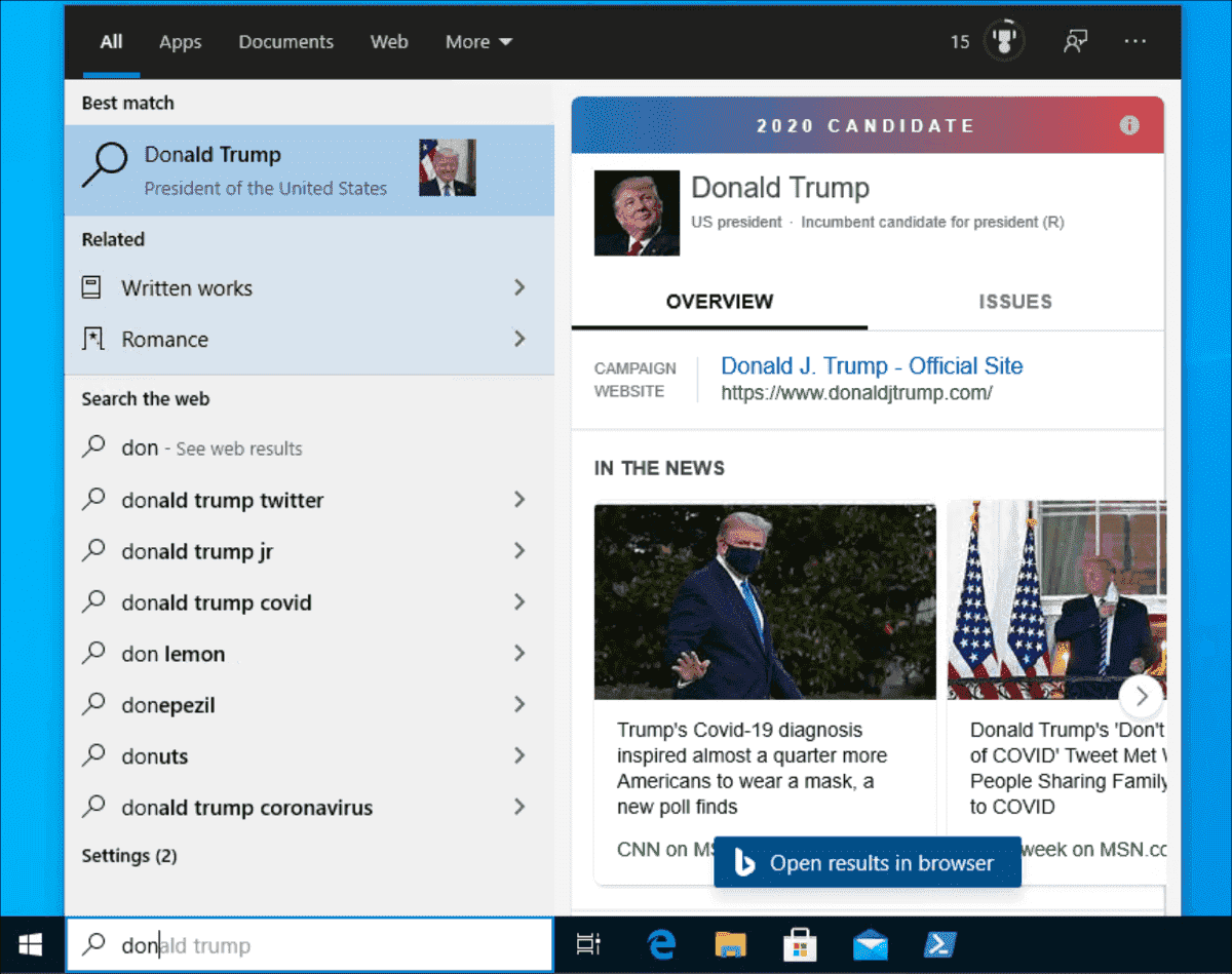 Web search integrated with local results in Windows 10