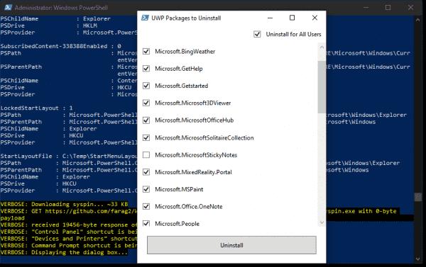 Windows 10 Sophia Script—Packages to uninstall