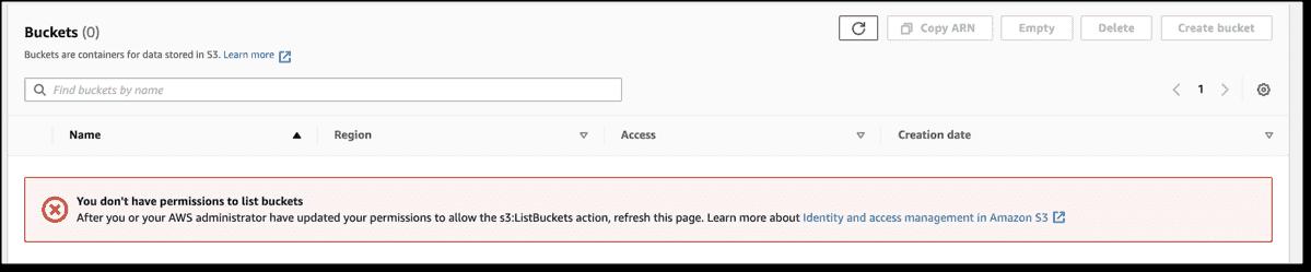 Access error when viewing S3