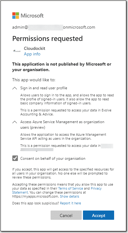 Admin consent grant screen