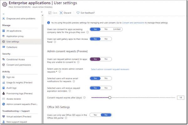 Admin request workflow settings