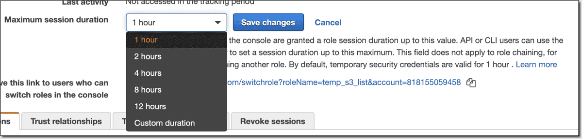 Amending the duration of the session