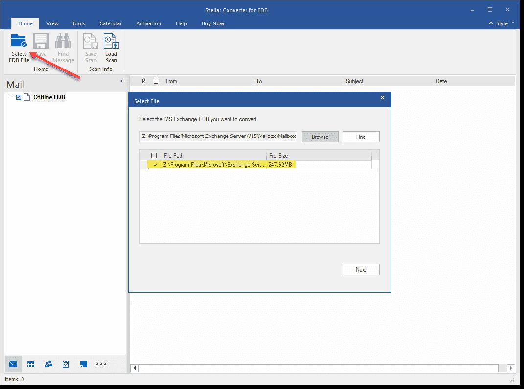 Choosing an offline EDB file for conversion