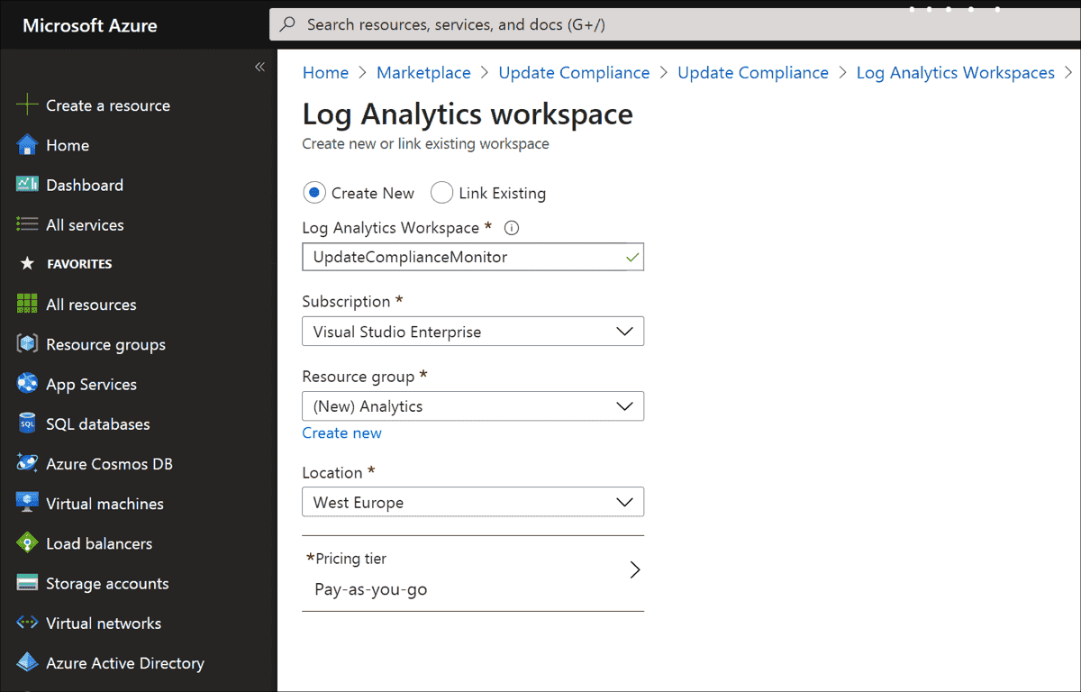 Creating a new workspace for log analytic