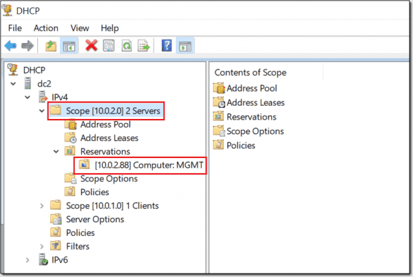 DHCP Reservation Example 2 – GUI