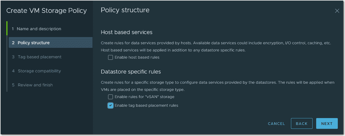 Enable tag based rules