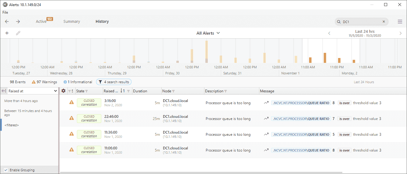 Event log history feature in NetCrunch v11