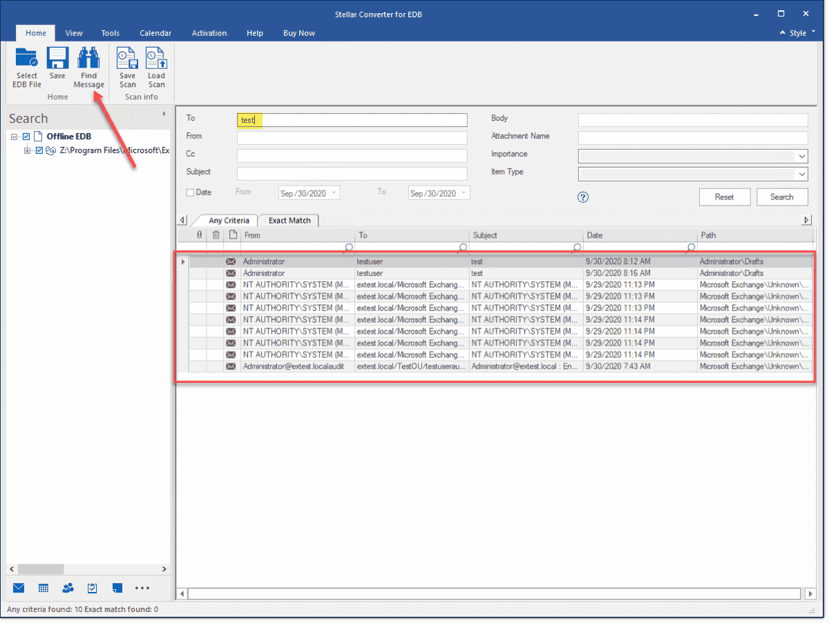 Finding specific emails contained within a particular EDB file