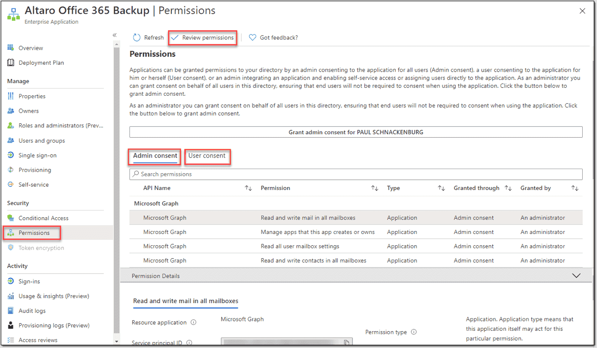 Permissions granted to an application