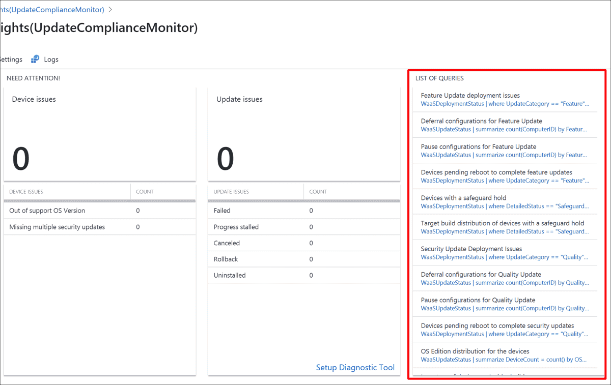 Predefined queries in Update Compliance