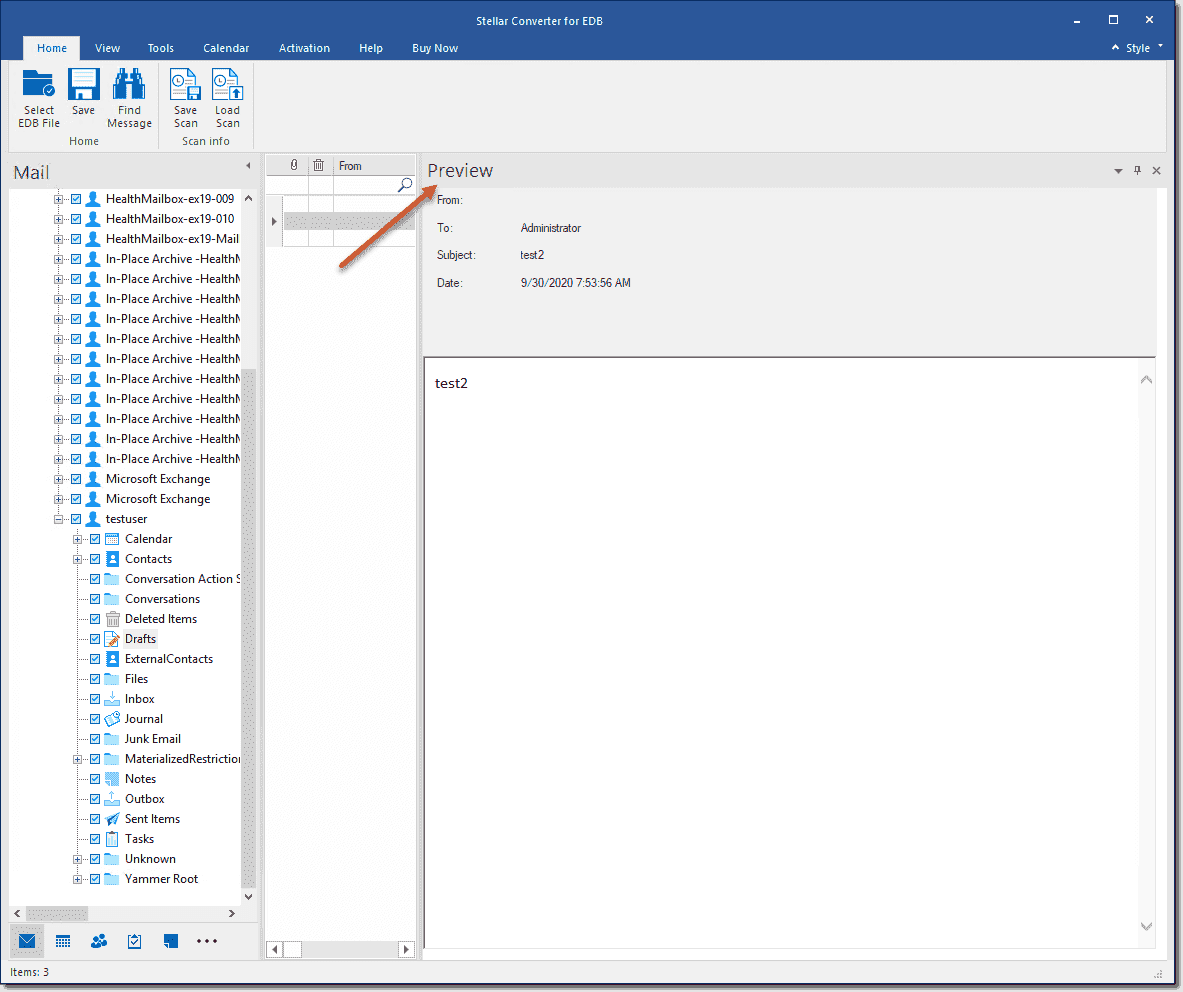 Previewing emails in the offline EDB file before conversion