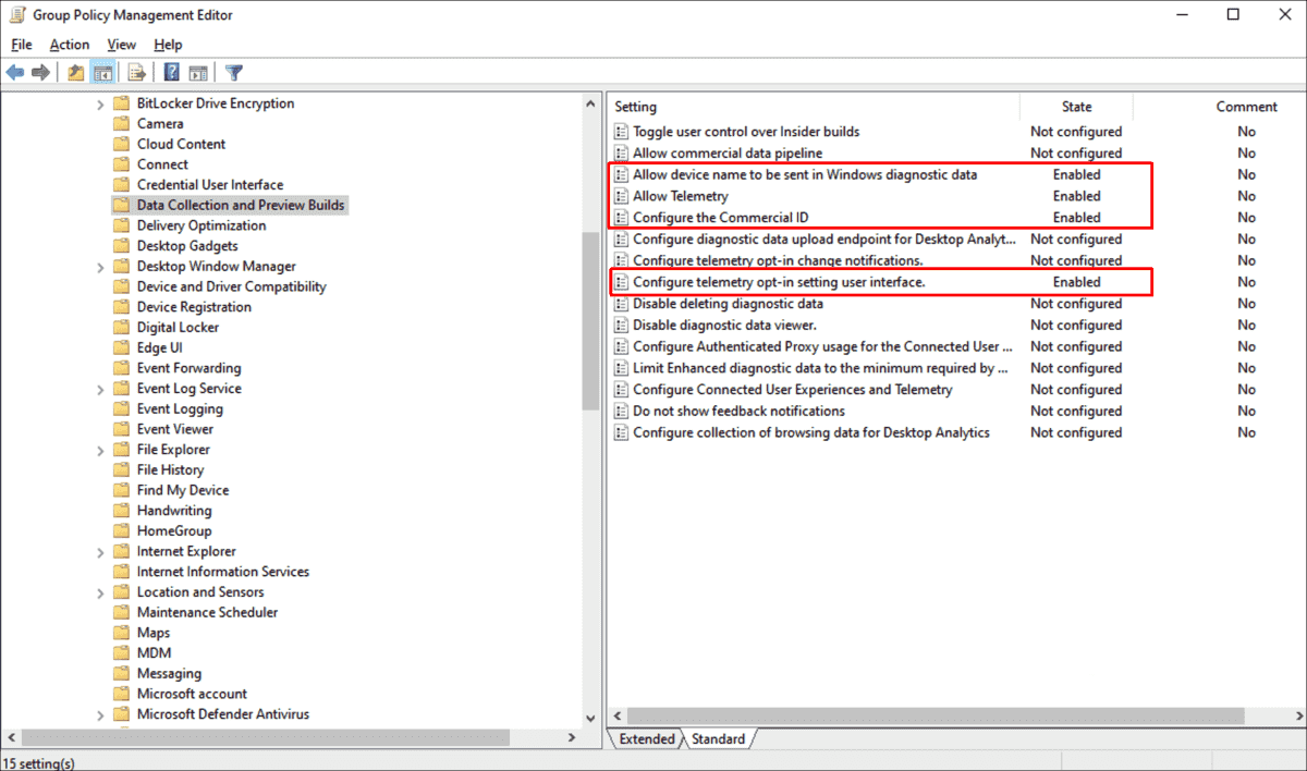 Required GPO settings for Update Compliance