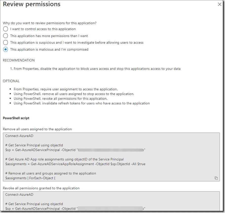 Review permissions screen for an app