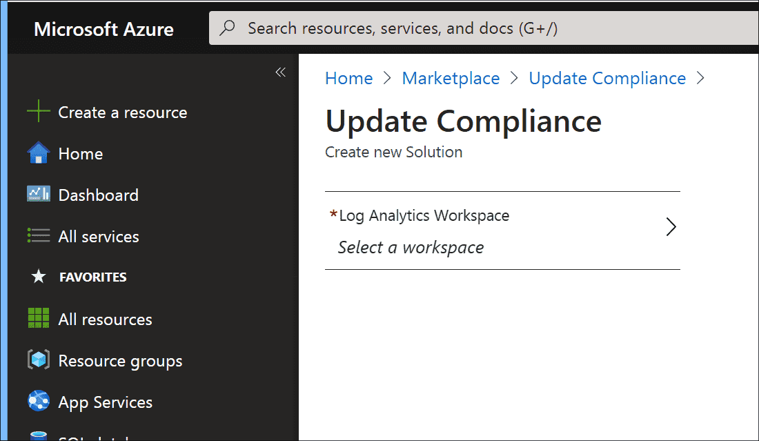 Selecting a Log Analytics workspace for Update Compliance