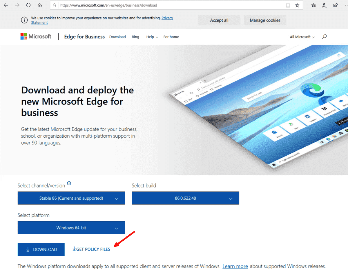 The GPO settings for Edge Chromium are not yet included in Windows 10 20H2 but are still a separate download