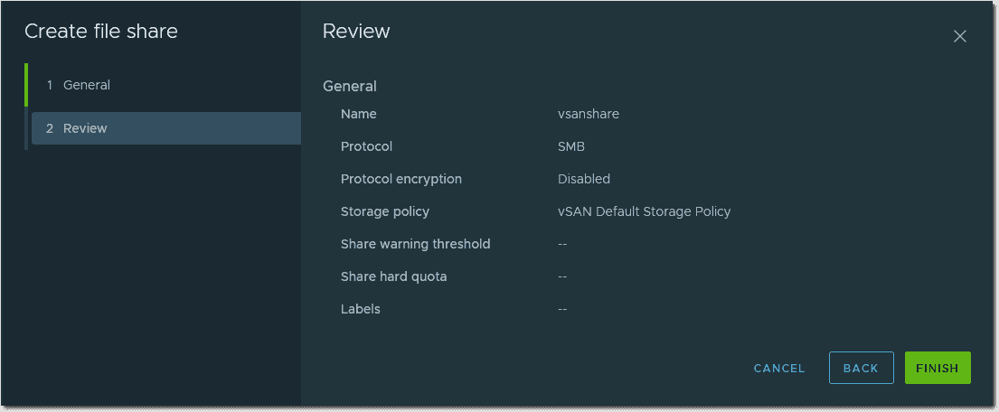 vSAN share review options