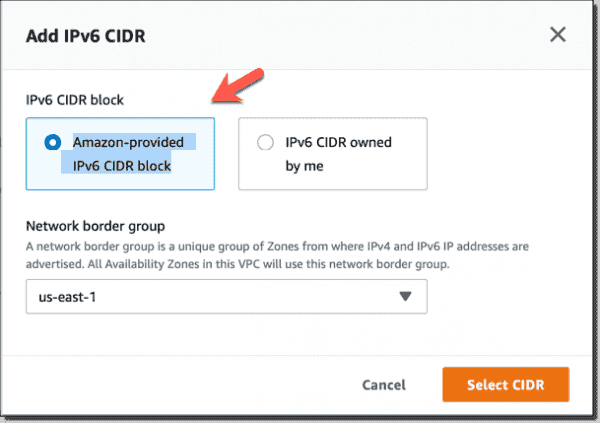 Add Amazon provided IPv6 CIDR