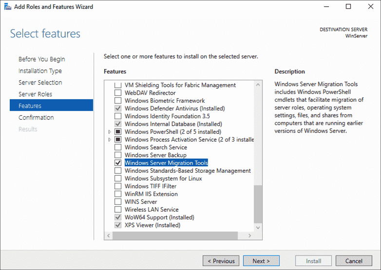 Adding Windows Server Migration Tools to the target server via the wizard in the Server Manager