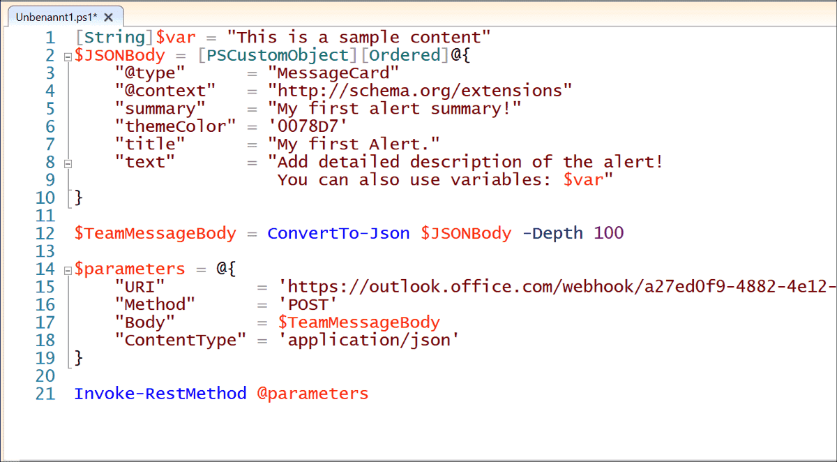 An example code for a webhook in PowerShell