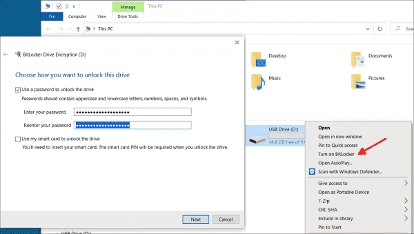 By default, users can encrypt USB drives themselves with BitLocker