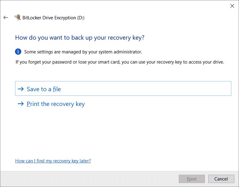 By default users have to take care of storing the key themselves