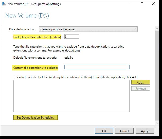 Configuring Windows Server deduplication setting