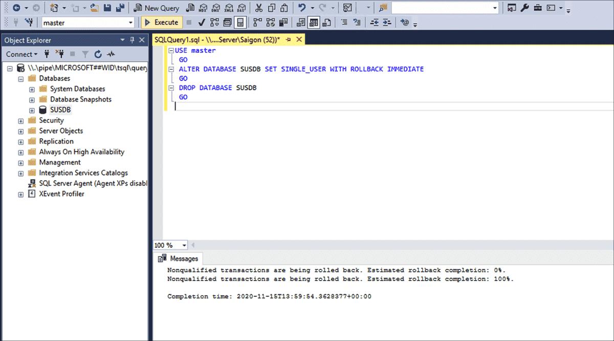 Deleting SUSDB on the target server via SQL script