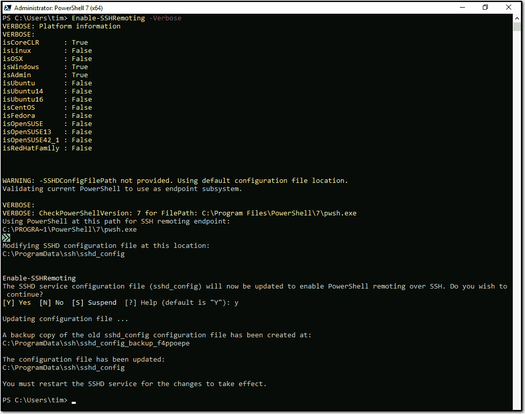 Enable SSH based PowerShell remoting in Windows Server