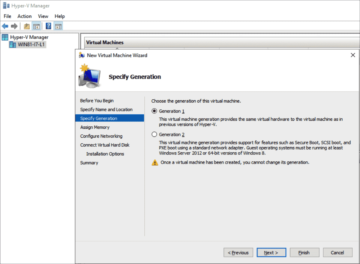 Generation 1 is still preselected in the Hyper V Manager for new VMs