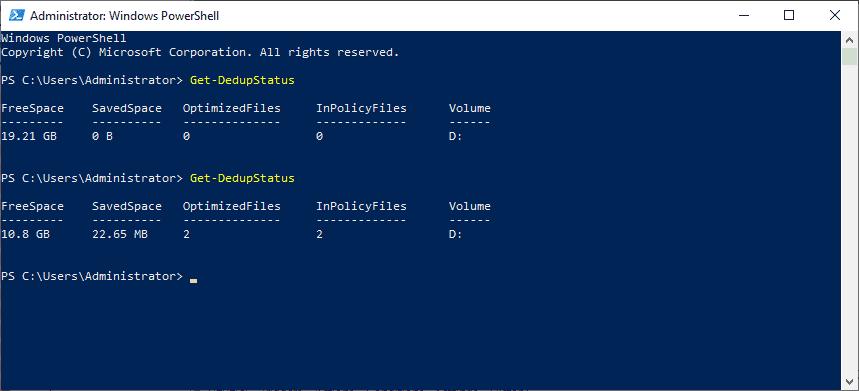 Getting the status of Data Deduplication for a storage volume in Windows Server