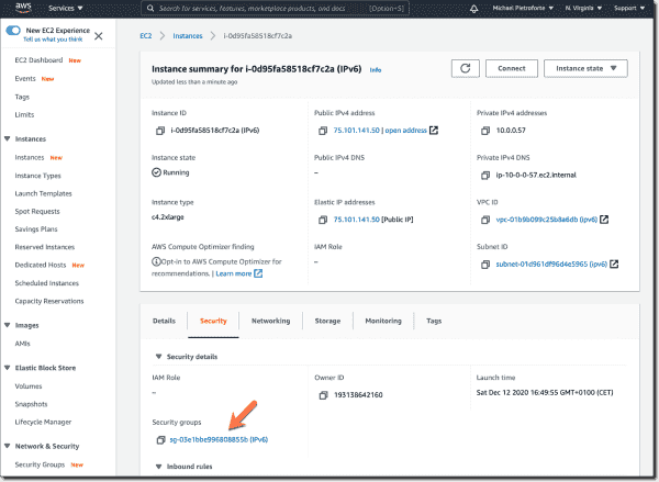Locate the security group of your EC2 instance