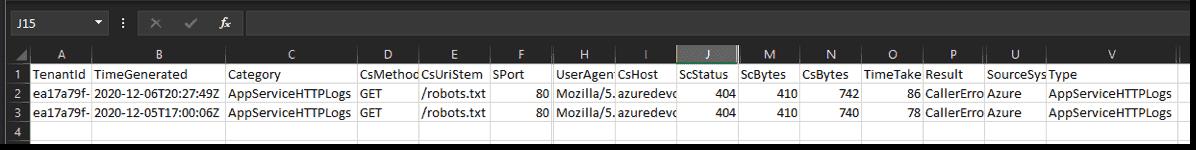 Log Analytics logs downloaded in CSV format