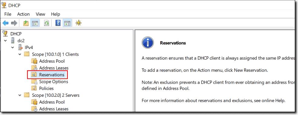 No more DHCP reservations for our computer