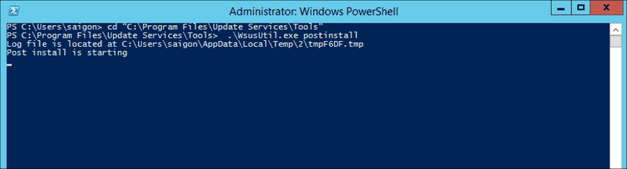 Performing post installation on the target server