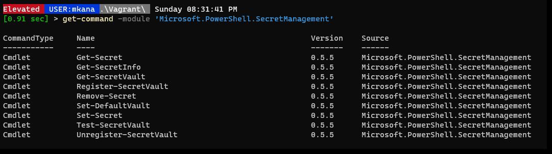 SecretsManagement module cmdlets