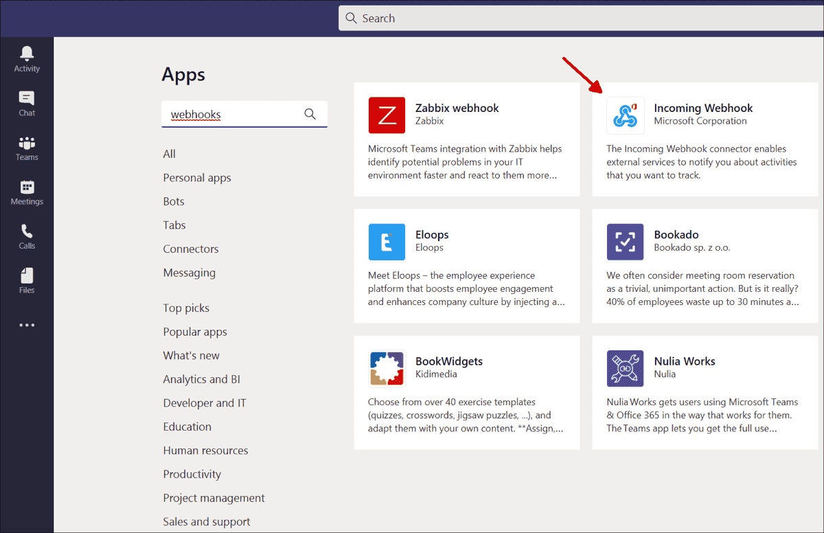 Select Incoming Webhook from the list of Team apps