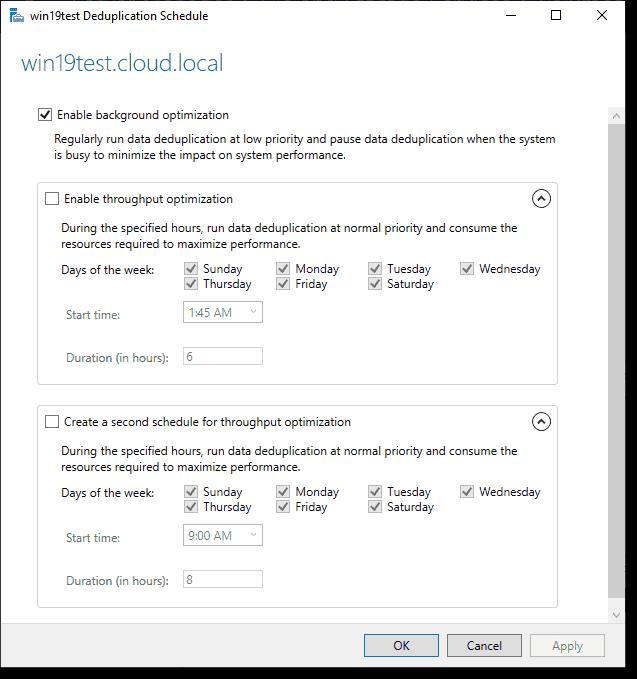 Setting the deduplication schedule in Windows Server 2019