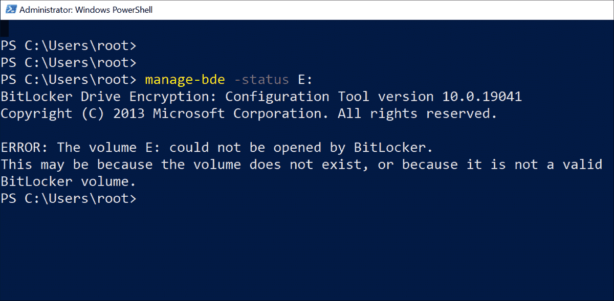 The command line tool manage bde also reports an incorrect status 1