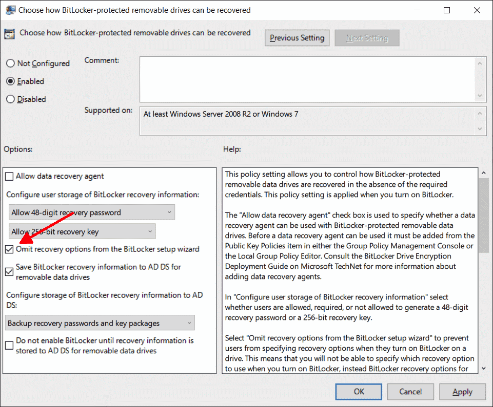 This option can be used to hide the dialog box for saving the recovery keys
