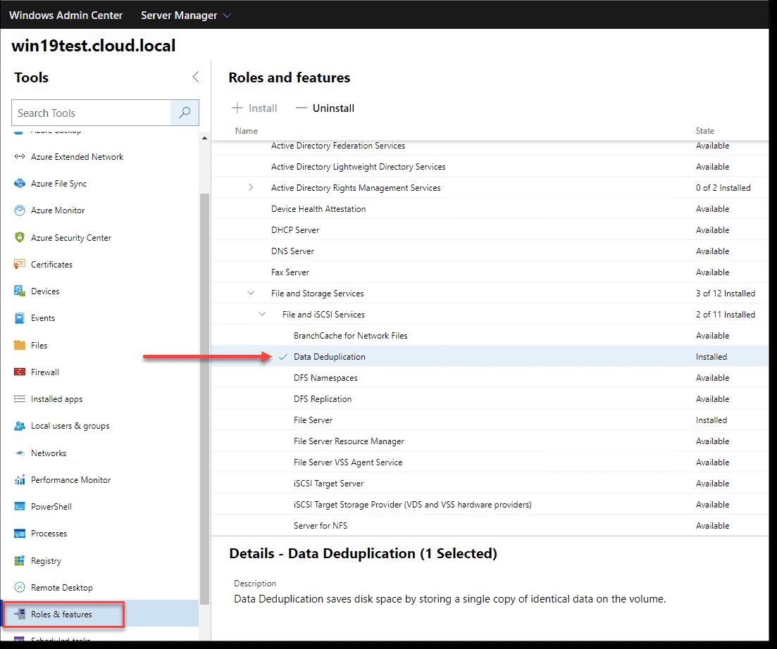 Using Windows Admin Center to install Data Deduplication in Windows Server 2019